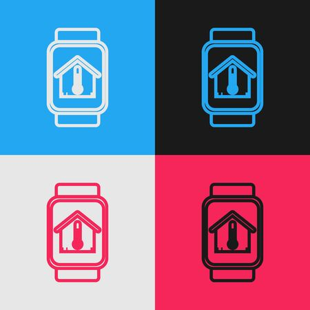 Color line Smart watch with house temperature icon isolated on color background. Thermometer icon. Vintage style drawing. Vector Illustration Stock Illustratie
