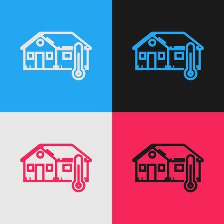 Color line House temperature icon isolated on color background. Thermometer icon. Vintage style drawing. Vector Illustration Stock Illustratie