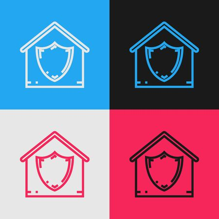 Color line House under protection icon isolated on color background. Protection, safety, security, protect, defense concept. Vintage style drawing. Vector Illustration Foto de archivo - 130641331
