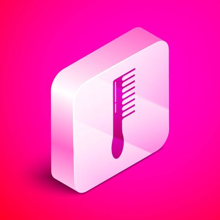Isometric Hairbrush icon isolated on pink background. Comb hair sign. Barber symbol. Silver square button. Vector Illustration Иллюстрация