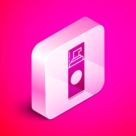 Isometric Shaving gel foam icon isolated on pink background. Shaving cream. Silver square button. Vector Illustration