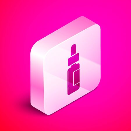 Isometric Glass bottle with a pipette. Vial with a pipette inside icon isolated on pink background. Container for medical and cosmetic product. Silver square button. Vector Illustration