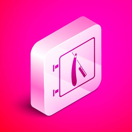 Isometric Barbershop with razor icon isolated on pink background. Hairdresser logo or signboard. Silver square button. Vector Illustration Çizim