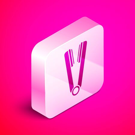 Isometric Curling iron for hair icon isolated on pink background. Hair straightener icon. Silver square button. Vector Illustration