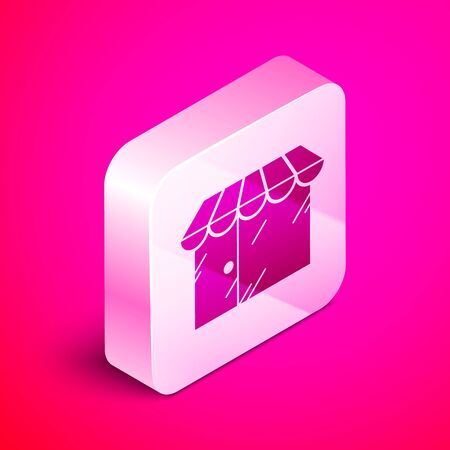 Isometric Barbershop building icon isolated on pink background. Silver square button. Vector Illustration Çizim