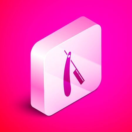 Isometric Straight razor icon isolated on pink background. Barbershop symbol. Silver square button. Vector Illustration Çizim