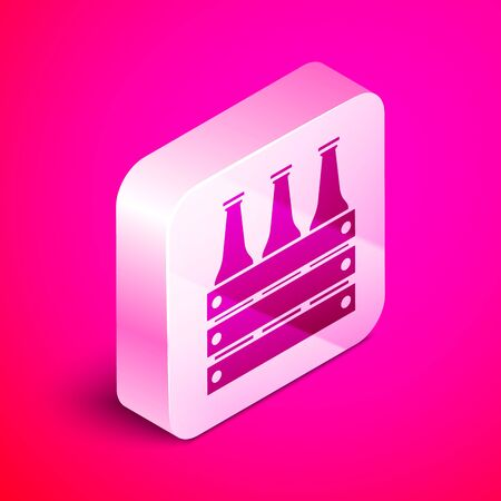 Isometric Pack of beer bottles icon isolated on pink background. Wooden box and beer bottles. Case crate beer box sign. Silver square button. Vector Illustration