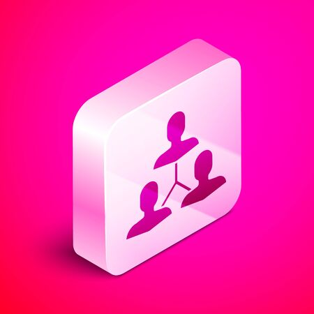 Isometric Project team base icon isolated on pink background. Business analysis and planning, consulting, team work, project management. Silver square button. Vector Illustration Иллюстрация
