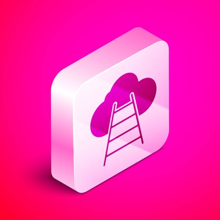 Isometric Ladder leading to cloud icon isolated on pink background. Stairs leading to the cloud. Silver square button. Vector Illustration