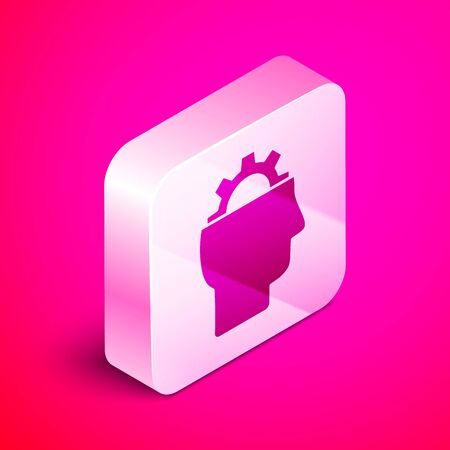 Isometric Human with gear inside icon isolated on pink background. Artificial intelligence. Thinking brain sign. Symbol work of brain. Silver square button. Vector Illustration