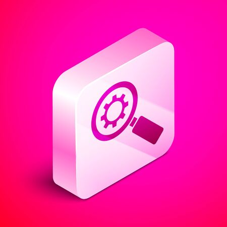 Isometric Magnifying glass and gear icon isolated on pink background. Search gear tool. Business analysis symbol. Silver square button. Vector Illustration
