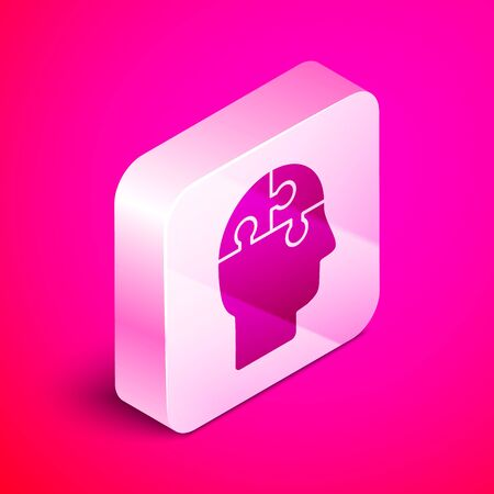 Isometric Human head puzzles strategy icon isolated on pink background. Thinking brain sign. Symbol work of brain. Silver square button. Vector Illustration