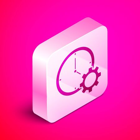 Isometric Time Management icon isolated on pink background. Clock and gear sign. Productivity symbol. Silver square button. Vector Illustration Banque d'images - 130642484