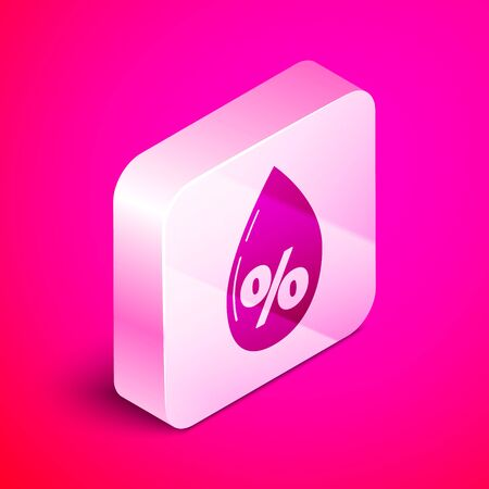 Isometric Water drop percentage icon isolated on pink background. Humidity analysis. Silver square button. Vector Illustration