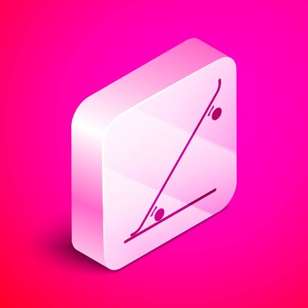 Isometric Skateboard icon isolated on pink background. Extreme sport. Sport equipment. Silver square button. Vector Illustration Ilustrace
