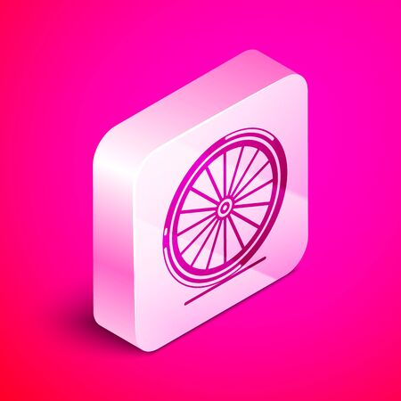 Isometric Bicycle wheel icon isolated on pink background. Bike race. Extreme sport. Sport equipment. Silver square button. Vector Illustration Ilustração