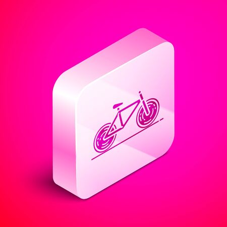 Isometric Bicycle icon isolated on pink background. Bike race. Extreme sport. Sport equipment. Silver square button. Vector Illustration