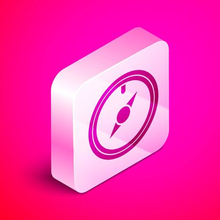 Isometric Wind rose icon isolated on pink background. Compass icon for travel. Navigation design. Silver square button. Vector Illustration Çizim