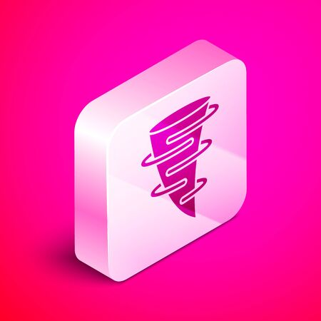 Isometric Tornado icon isolated on pink background. Silver square button. Vector Illustration Illustration