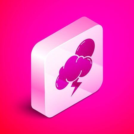 Isometric Storm icon isolated on pink background. Cloud with lightning and sun sign. Weather icon of storm. Silver square button. Vector Illustration