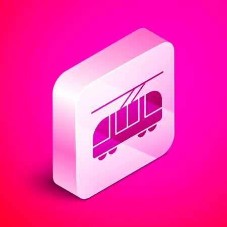 Isometric Tram and railway icon isolated on pink background. Public transportation symbol. Silver square button. Vector Illustration Ilustrace