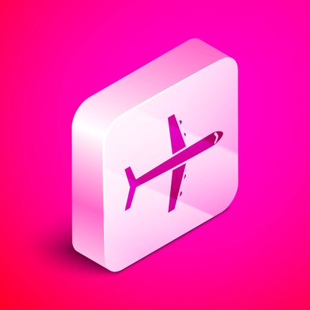 Isometric Plane icon isolated on pink background. Flying airplane icon. Airliner sign. Silver square button. Vector Illustration