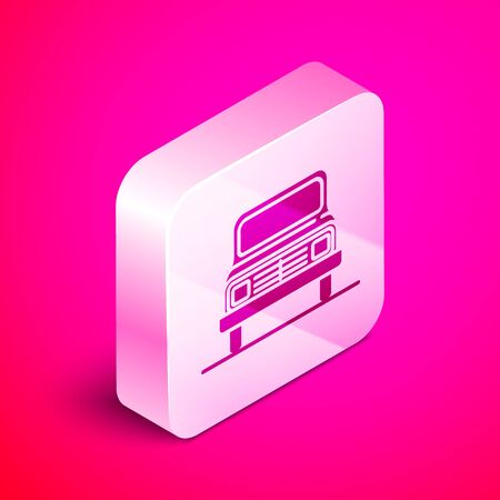 Isometric Car icon isolated on pink background. Front view. Silver square button. Vector Illustration Иллюстрация