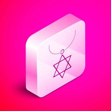 Isometric Star of David necklace on chain icon isolated on pink background. Jewish religion symbol. Symbol of Israel. Jewellery and accessory. Silver square button. Vector Illustration