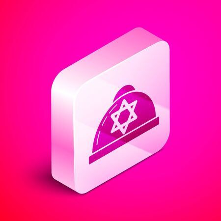 Isometric Jewish kippah with star of david icon isolated on pink background. Jewish yarmulke hat. Silver square button. Vector Illustration