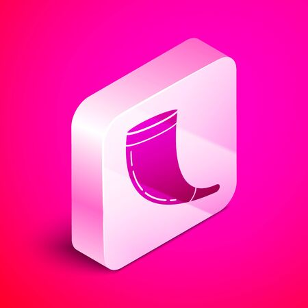 Isometric Traditional ram horn, shofar icon isolated on pink background. Rosh hashanah, jewish New Year holiday traditional symbol. Silver square button. Vector Illustration Illustration
