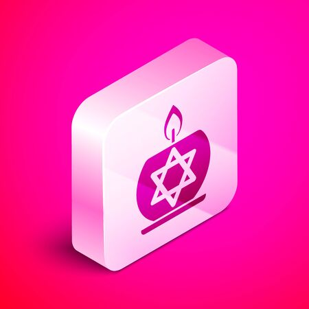 Isometric Burning candle in candlestick with star of david icon isolated on pink background. Cylindrical candle stick with burning flame. Silver square button. Vector Illustration