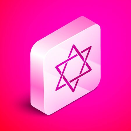 Isometric Star of David icon isolated on pink background. Jewish religion symbol. Symbol of Israel. Silver square button. Vector Illustration