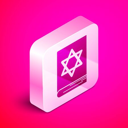 Isometric Jewish torah book icon isolated on pink background. Pentateuch of Moses. On the cover of the Bible is the image of the Star of David. Silver square button. Vector Illustration Çizim