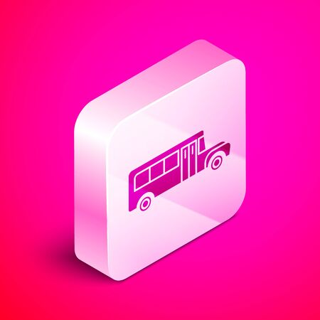 Isometric School Bus icon isolated on pink background. Public transportation symbol. Silver square button. Vector Illustration