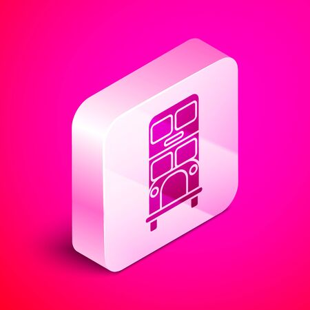 Isometric Double decker bus icon isolated on pink background. London classic passenger bus. Public transportation symbol. Silver square button. Vector Illustration Çizim