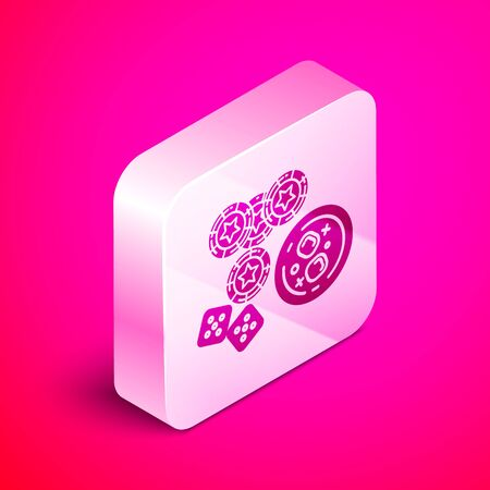 Isometric Casino chips, game dice and glass of whiskey with ice cubes icon isolated on pink background. Casino poker. Silver square button. Vector Illustration