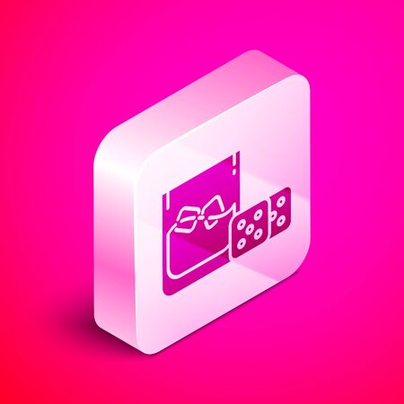 Isometric Game dice and glass of whiskey with ice cubes icon isolated on pink background. Casino gambling. Silver square button. Vector Illustration Иллюстрация