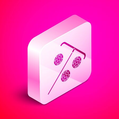 Isometric Stick for chips icon isolated on pink background. Casino gambling. Silver square button. Vector Illustration