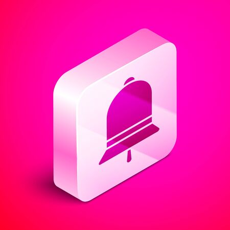 Isometric Ringing bell icon isolated on pink background. Alarm symbol, service bell, handbell sign, notification symbol. Silver square button. Vector Illustration