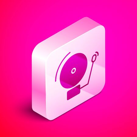 Isometric Ringing alarm bell icon isolated on pink background. Alarm symbol, service bell, handbell sign, notification symbol. Silver square button. Vector Illustration