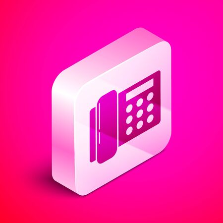Isometric Telephone icon isolated on pink background. Landline phone. Silver square button. Vector Illustration
