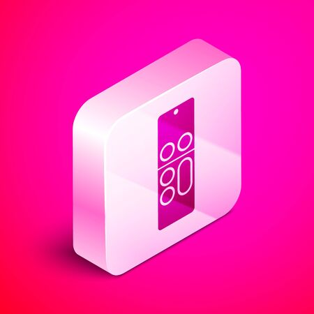 Isometric Remote control icon isolated on pink background. Silver square button. Vector Illustration