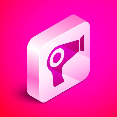 Isometric Hair dryer icon isolated on pink background. Hairdryer sign. Hair drying symbol. Blowing hot air. Silver square button. Vector Illustration Çizim