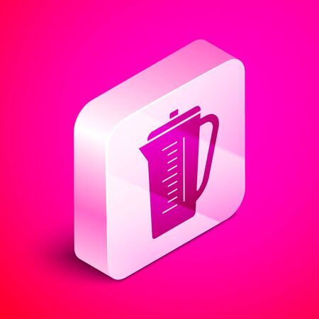 Isometric Measuring cup to measure dry and liquid food icon isolated on pink background. Plastic graduated beaker with handle. Silver square button. Vector Illustration Иллюстрация