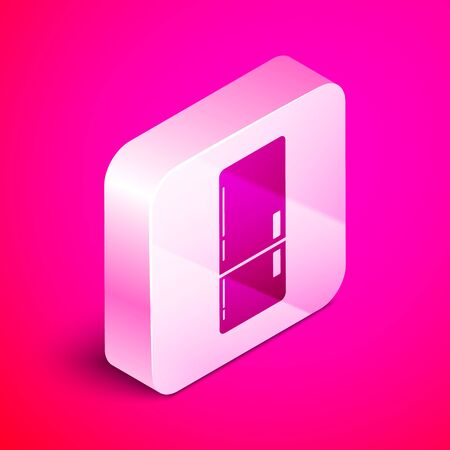 Isometric Refrigerator icon isolated on pink background. Fridge freezer refrigerator. Household tech and appliances. Silver square button. Vector Illustration