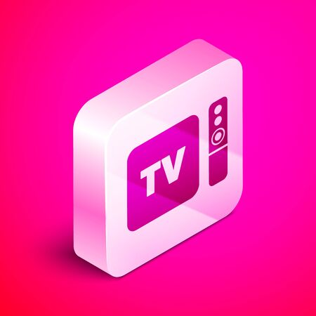 Isometric Multimedia and TV box receiver and player with remote controller icon isolated on pink background. Silver square button. Vector Illustration
