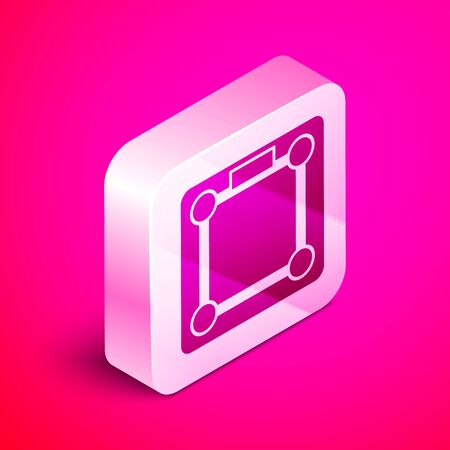 Isometric Bathroom scales icon isolated on pink background. Weight measure Equipment. Weight Scale fitness sport concept. Silver square button. Vector Illustration