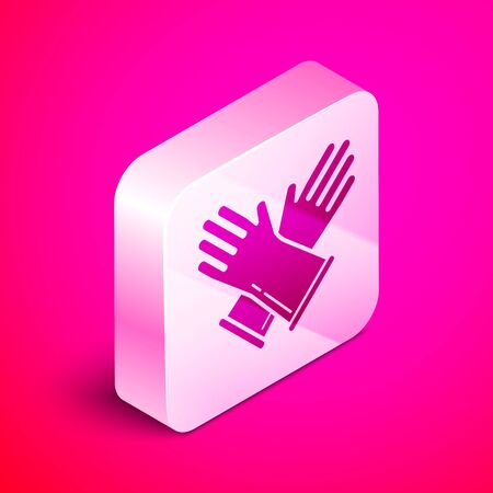 Isometric Rubber gloves icon isolated on pink background. Latex hand protection sign. Housework cleaning equipment symbol. Silver square button. Vector Illustration Çizim
