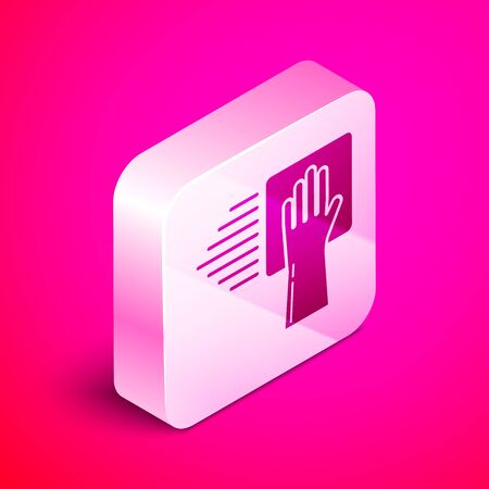 Isometric Cleaning service icon isolated on pink background. Silver square button. Vector Illustration