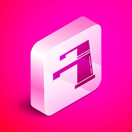 Isometric Water tap icon isolated on pink background. Silver square button. Vector Illustration